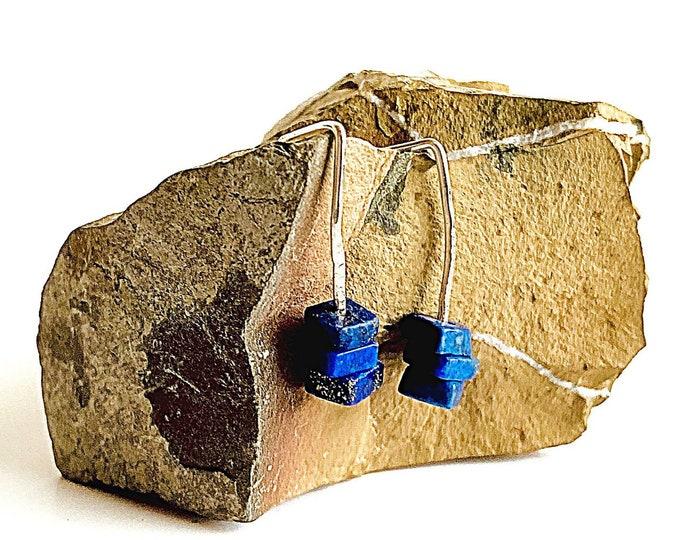 Lapis Lazuli stud earrings Sterling Silver, square shape stones, cobalt blue healing crystal, minimalist drop earrings, silver bar earrings