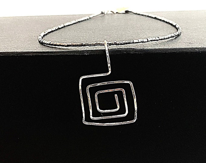 Square necklace, Sterling Silver arched pendant, unique artistic pendant, minimalist statement necklace, hammered silver geometric necklace