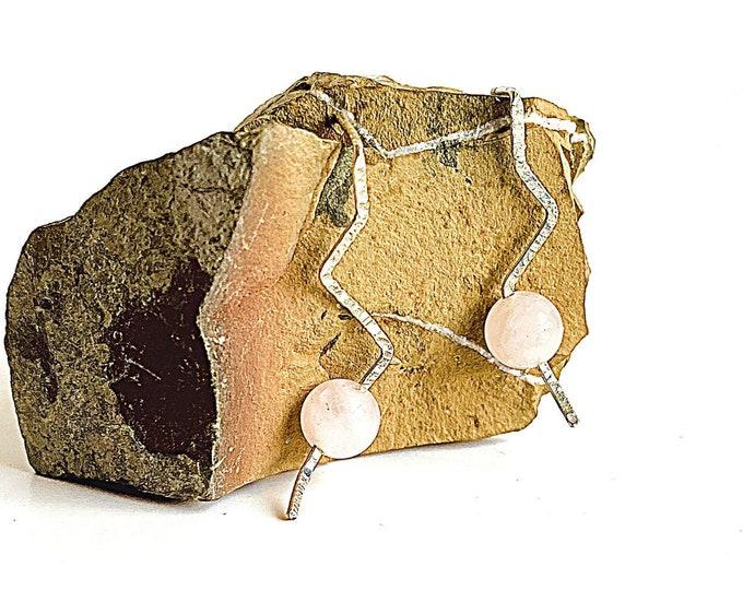 Rose Quartz Post Earrings, Healing Gemstone Statement Jewelry, Silver Drop Earrings, Hammered Earrings