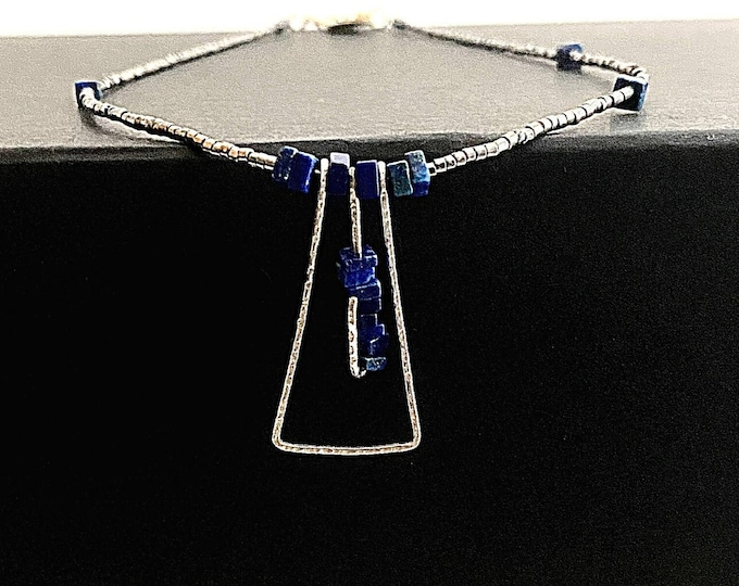 Sterling Silver Lapis Lazuli pendant necklace, minimalist triangle necklace, artistic hammered silver pendant, Lapis statement necklace
