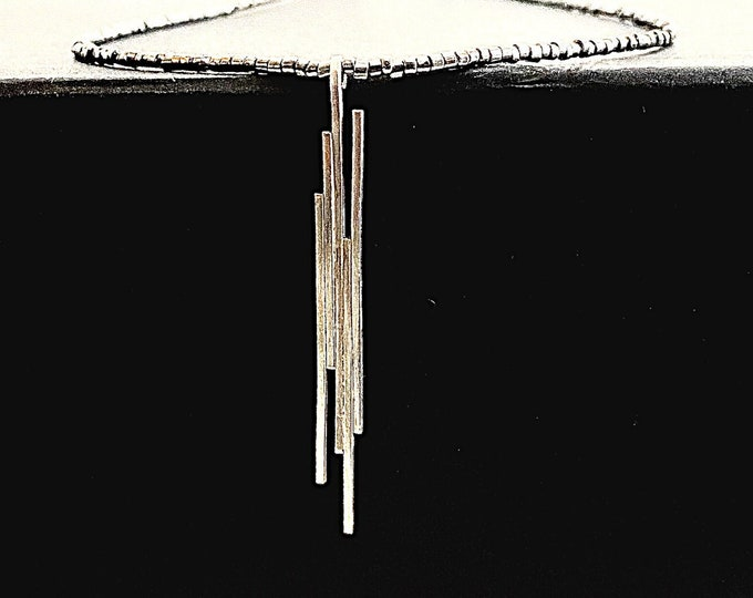 Vertical bar pendant necklace, dainty Sterling Silver bar pendant, contemporary multiple bar design, geometric lightweight line pendant