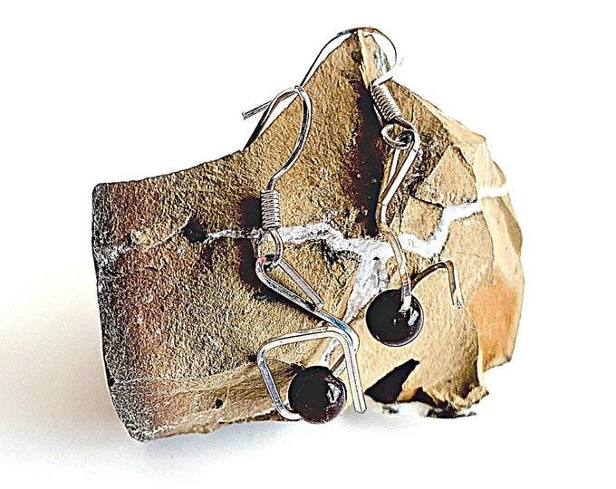 Garnet dangle drop earrings, deep red garnet birthstone jewelry gift, Sterling Silver statement earrings, modern artisan minimalist earrings