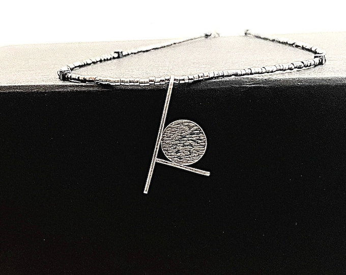 Sterling Silver Geometric Pendant, Hammered Silver Artistic Pendant, Art Deco Jewelry