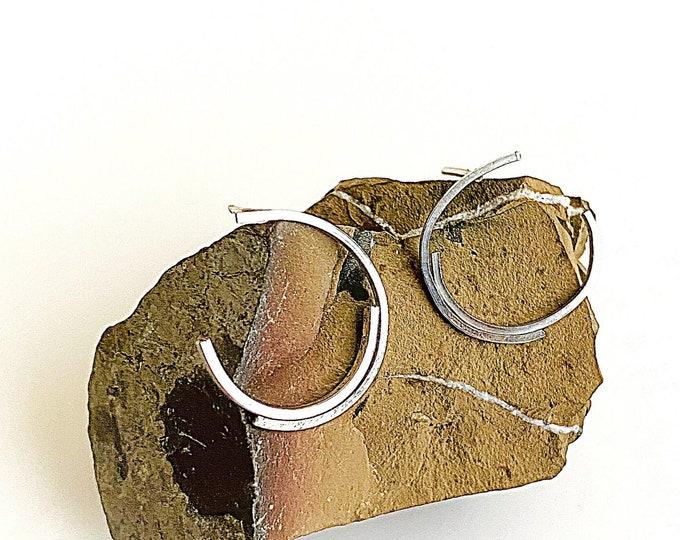 Sterling Silver half circle earrings, square wire silver post earrings, half moon studs, minimalist earrings, geometric statement earrings