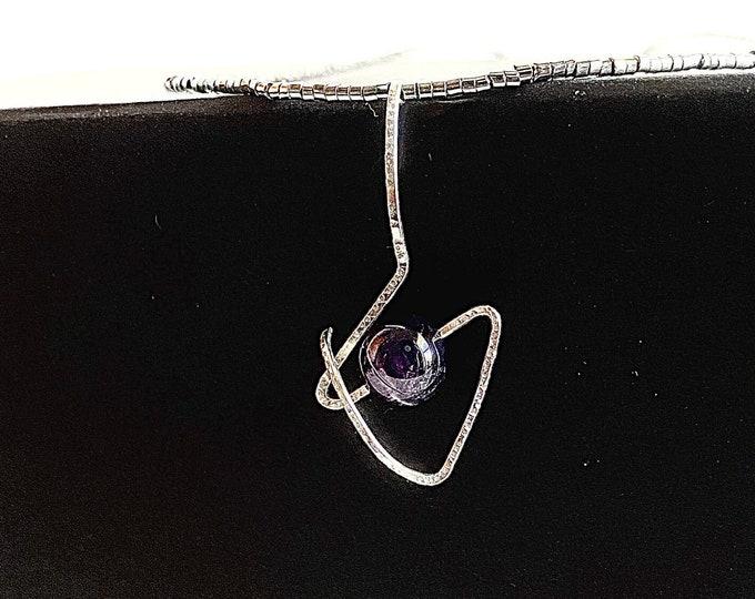 Art to wear Amethyst necklace//healing stone statement jewelry for women