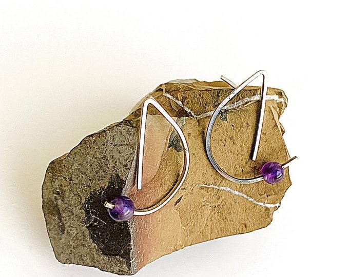 Amethyst earrings, Sterling Silver unique half circle earrings, geometric abstract earrings, minimalist statement earrings, artisan jewelry