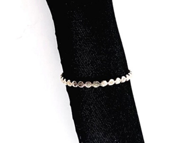 Sterling Silver hammered bubble ring, handmade beaded ring, stacking bead ring, minimalist flat beaded ring, modern fall trending jewelry