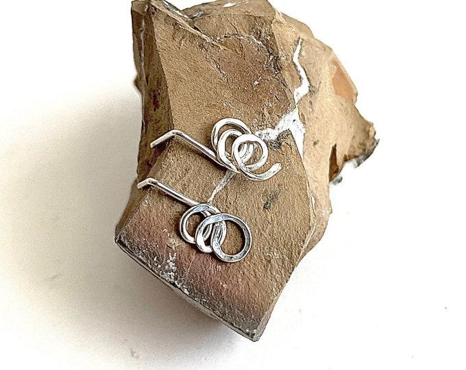 Spiral stud earrings, swirl earrings, open circle earrings, Sterling Silver hammered drop earrings, minimalist jewelry for women