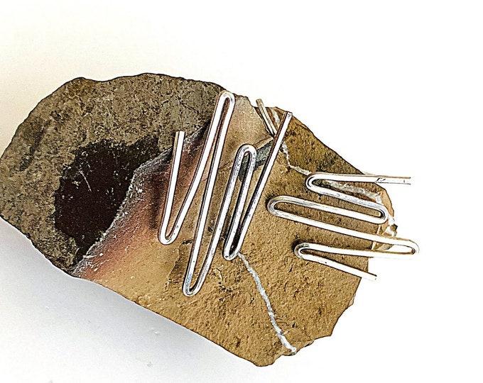 Sterling Silver zig zag earrings, square wire silver post earrings, silver squiggle studs, minimalist earrings, geometric statement earrings