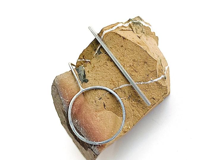 Silver Earrings, Bar and Circle Mismatch Earrings, Statement Earrings, Minimalist Earrings, Lightweight Earrings, Gift For Her