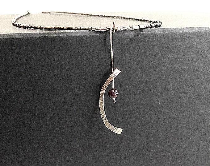 Garnet necklace, artistic silver pendant, Sterling Silver garnet pendant, red stone pendant, minimalist statement necklace, unusual jewelry