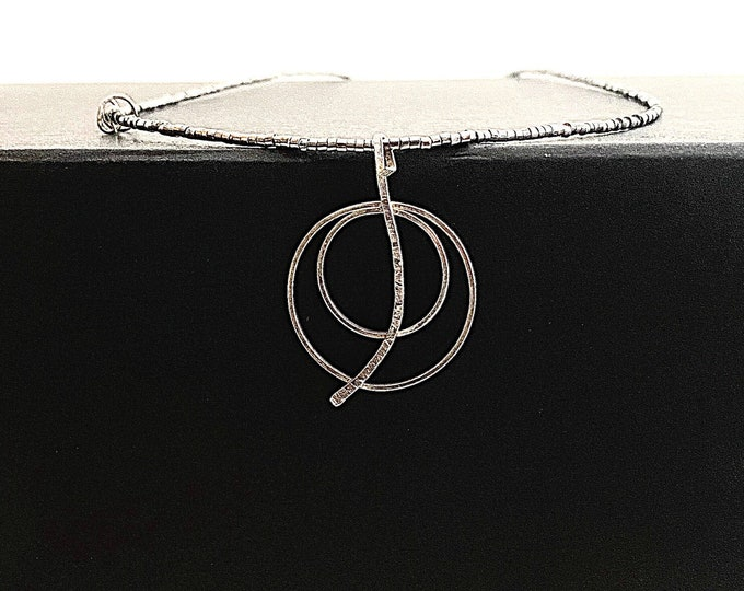 Two Circle Pendant, Silver Hoop Pendant, Circle Necklace, Artistic Pendant, Metalsmith Jewelry