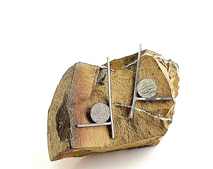 Sterling Silver Wearable Art Stud Earrings, Silver Post Abstract Earrings, Textured Metal Minimalist Earrings