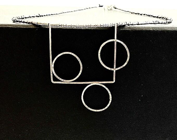 Geometric silver necklace, delicate art deco circle pendant, handmade modern minimalist statement jewelry, minimalist pendant, contemporary