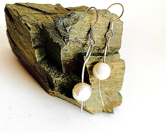 Modern Pearl Dangle Earrings, Simple Pearl Earrings, Sterling Silver Hammered Texture Drop Earrings