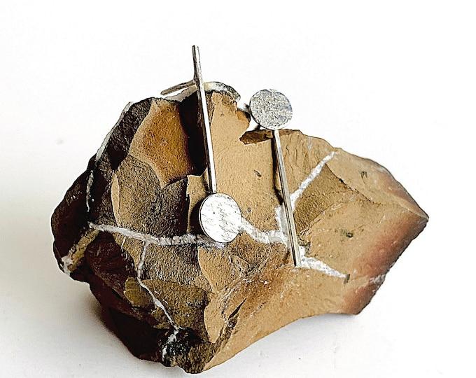 Bar earrings stud, tiny disc earrings, flat disc studs, Sterling Silver jewelry, artistic minimalist earrings, edgy earrings, line earrings
