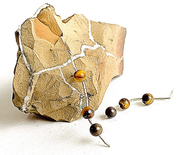 Unique Tiger eye earrings, asymmetrical crystal statement earrings, silver earrings with a beautiful hammered texture