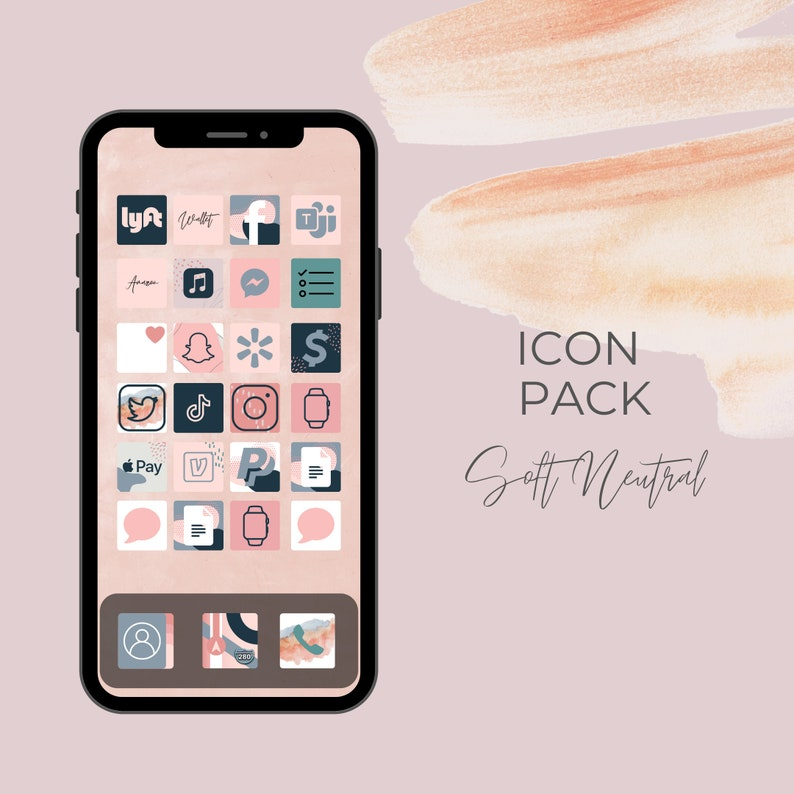 Soft Neutral collection  100 iPhone iOS 14 App Icons  iOS14 image 0