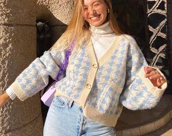 Vintage Cardigan  Houndstooth Cardigan  Floral Cardigan  80s Cardigan  Long Cardigan  Cotton Cardigan  Mixed Print Top  Vintage Izod