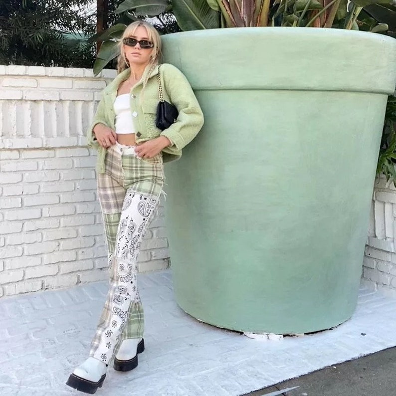 Patchwork Vintage Checkered Jeans Women Print Skinny High Waist Denim Pants Ladies Y2K Fashion Frill Trousers Female