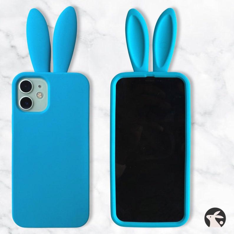 Blue Silicone iPhone 12 Mini Rabbit Bunny Ears Phone Case