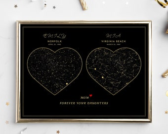 Gift for MOM from son Daughter PERSONALIZED 2 locations custom night sky mothers day gift ideas grandma Heart Poster PRINTABLE Relationship
