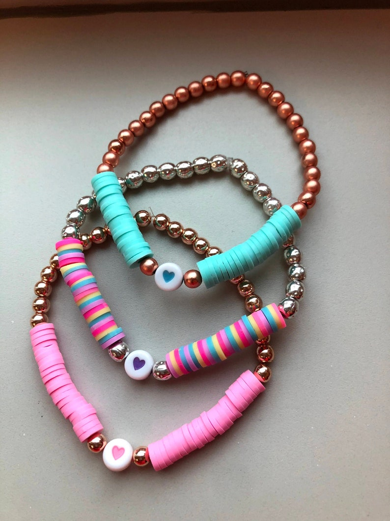 Spring jewelry candy color bracelets Heishi clay bead bracelets surfer boho style outer banks mother/'s day