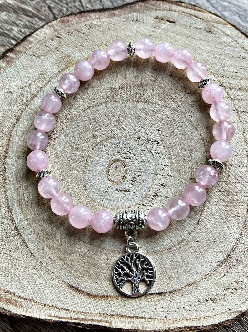 Personalised lithotherapy bracelet in pink Quartz and pendant of your choice.