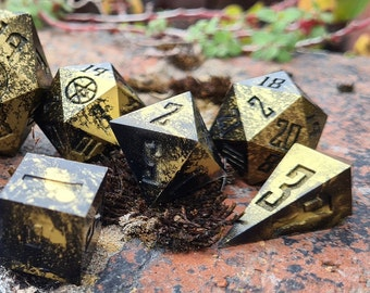Old Gold: 9 Handmade Dice for fans of tabletop gaming, Dungeons and Dragons and Critical Role