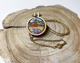 CUSTOM* Hand stitched Landscape Mini hoop / Pendant