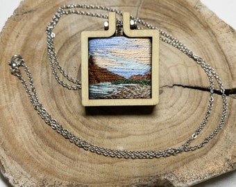 Moab, Utah Pendent | Sunset Mountain Hand Embroidered Minihoop Necklace