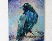 Raven/ Crow Modern Vibrant Animal Painting 24 x 30 cm 0riginal Oil Painting on Canvas Signed Impasto Art Doco Ideal Gift for Any Wall