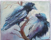 colorful ravens, birds, modern animal painting, original by artist, crows, 30 x 30 cm oil painting on canvas, signed large art impasto