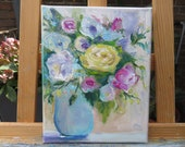 Small flower painting on canvas 24 x 30 cm original oil painting Impasto gorgeous wall art ideal gift Art Doco for all