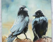 Two Raven Crows Modern Animal Painting Original by the Artist, 30 x 30 cm Oil Painting on Canvas Signed Large Art Impasto