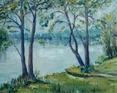 Hariksee modern painting in oil canvas realistic landscape motif large oil painting# 60 x 90 cm original unique home motif ideal gift