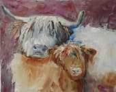 Highland cows 30 x 24 cm modern animal painting oil painting by the artist original autographed Impasto great art