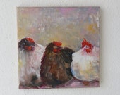 3 Chickens Modern Animal Painting Art Dèco Fine Art Wall Decor Oil Painting Canvas Small Painting for All Beautiful Colors