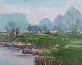 Im Bruch, modern great art in Art Dèco, oil painting in Impasto, lifelike landscape motif, small oil painting, ideal gift 24 x 30 cm