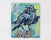 Naughty Crow/ Raven Modern Vibrant Animal Painting 24 x 30 cm Original Oil Painting on Canvas Signed Impasto Ideal Gift for Any Wall