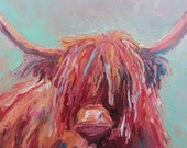 Highland Beef Oil Painting Modern Painting Wall Decor Fine Art Original Painting 30 x 30 cm Impasto each wall Living Animal Painting Ideal Gift