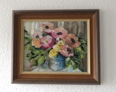 Anemones Small Friendly Oil Painting 24 x 30 cm Original Impasto Flower Picture on Canvas Beautiful Wall Art Ideal Gift