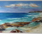 Deep Blue Beach Idyll Maritime Motif Oil Painting on Canvas Blue Sea Original Great Art by The Painter Holiday Mood