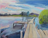 Borner See small modern oil painting on canvas Original wall décor Fine Art painting Landscape from home