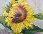 Sunflower Small Painting on Canvas 20 x 20 cm Original Art by the Artist Signed Ideal Gift in Style Art Deco