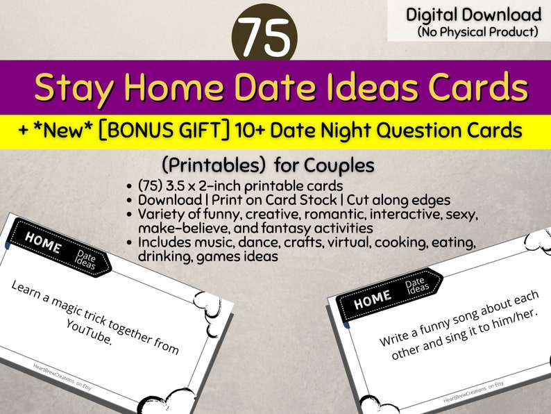 75 Stay Home Date Ideas for Couples Cards  BONUS GIFT 10 image 0