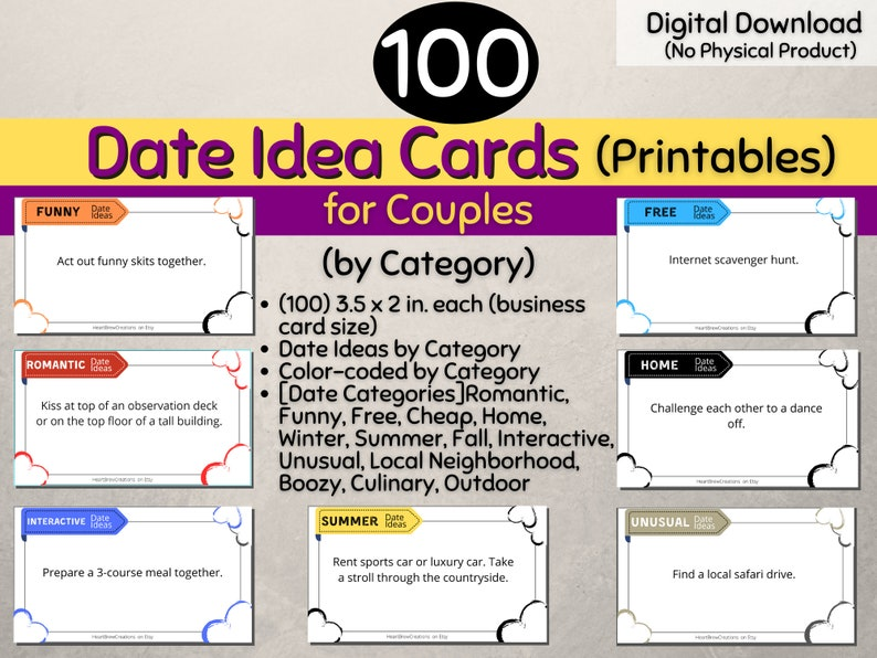 100 Date Ideas for Couples Cards Printables Digital image 0