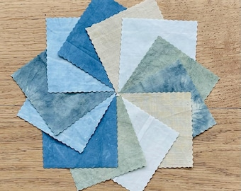 Indigo and Weld fabric bundle - Seaside Collection - patchwork - 4.5 inch squares - collage - mixed media - naturally dyed fabric