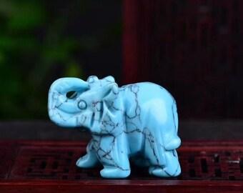 Carving Reiki healing 1pc Blue Aventurine elephant Handmade Natural Crystal Carved Quartz Crystal Elephant crystal elephant