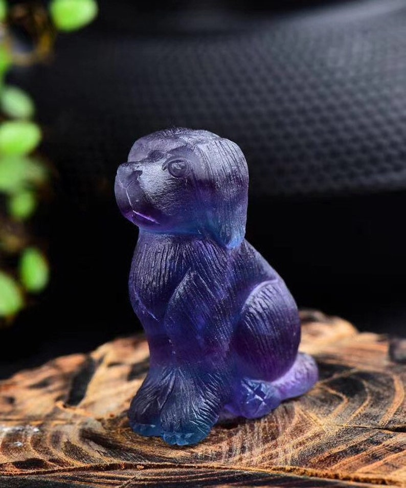 Crystal Sculpture Crystal Animals Crystal Carvings Fluorite Dog Carving Fluorite Animals Rainbow Fluorite Animal Carving